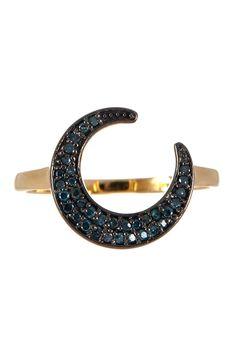 14K Yellow Gold & Blue Diamond Moon Ring - 0.20 ctw on @HauteLook