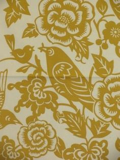Cute birdie, nice color!!  Merona Mustard - www.BeautifulFabric.com - upholstery/drapery fabric - decorator/designer fabric