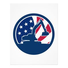 American Excavator USA Flag Icon Letterhead Custom Office Retirement #office #retirement