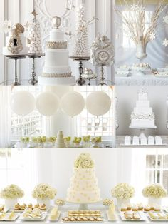 White Dessert Buffet - An all white dessert table is elegant and clean while still being fun with lots of variety.