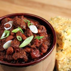 Thick & Hearty Steak Chili- Has beer in the sauce which adds a nice earthiness, definitely NOT your ordinary chili- delicious!