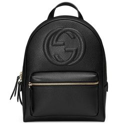 """Soho Leather Chain Backpack by Gucci. Gucci textured leather backpack with embossed interlocking G. Golden hardware. Flat top handle, 2"""" drop. Chain-link s..."""