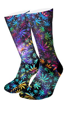 Celebrate 420 with this pair of multi-color custom elite socks. Featuring waves of vibrant colors leaves, paired with a starry galaxy background. Rock this anywhere with any kicks. • Comes in standard