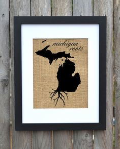 Michigan Roots, Burlap Wall Art by Fiber and Water.