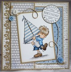 Boys birthday card with nautical theme and a rubber stamped image of a little boy with his sailing boat from Lili of the Valley
