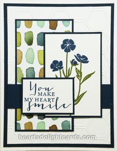 Stampin' Up! Wild about Flowers - Heart's Delight Cards Use new clear stamp set with circles & hearts. Stamping Up Cards, Cute Cards, Easy Cards, Flower Cards, Paper Flowers, Card Sketches, Masculine Cards, Sympathy Cards, Creative Cards