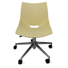 Color: Beige Shell chairs by Italian designer Angelo Pinaffo have a unique and elegant design. With casters and adjustable height, they're perfect for offices or any setting where people need to roll occasionally. Eight designer colors from beige to bold orange make these the perfect chairs for any decor. Shell chairs fit as well in a home office as they do in a professional office environment.The shells are designed for superior strength in the seams where other chairs tend to break down.