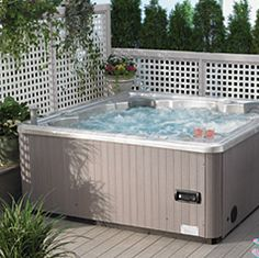 Install a relaxing outdoor spa off your deck, patio or pool and set loungers nearby. Jacuzzi Outdoor, Outdoor Spa, Outdoor Areas, Outdoor Rooms, Outdoor Living, Hot Tub Privacy, Hot Tub Backyard, Backyard Ideas, Toilet Installation