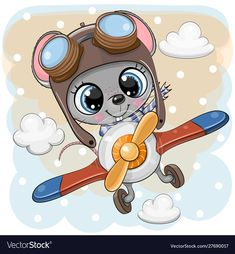 Cartoon mouse is flying on a plane Royalty Free Vector Image , Cute Cartoon Pictures, Cute Cartoon Girl, Cute Cartoon Animals, Baby Cartoon, Cartoon Pics, Cartoon Whale, Cartoon Unicorn, Baby Shower Greeting Cards, Baby Animal Drawings