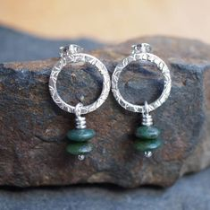 Sterling Silver Jade Earrings Stud With Green Beads Mothers Day Gift Handmade By Arc Jewellery Uk