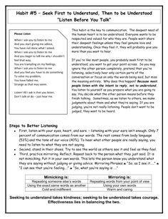 Habit 5 seek first to understand info sheet