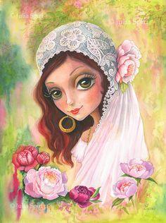 Printable Artwork, Girl Wall Art Printable, Watercolor Painting, Whimsical, Bride, Boho, illustration, Print, Poster, Decor Art. Gypsy Bride