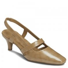 Aerosoles Black Cheery Tan Patent, Slingback shoe for women; a casual career shoe in tan color by Aerosoles at $79.00