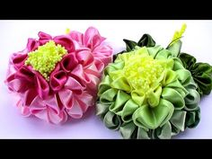 Цветы Канзаши Мастер Класс / Георгин из ленты 5 см / Kanzashi Flowers Tutorial - YouTube