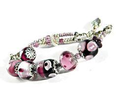 Pink Silver Bohemian Lampwork bracelet Asymmetric Glass bead bracelet  Pink Valentine bracelet Boho Wedding jewelry Gift for Her
