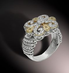 Part of the Fleur de Lis Collection. 0.32 cts of Diamonds in 14k Gold and Sterling Silver. #VahanPinterest