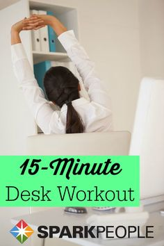 Healthy Living Desk Workout Video via SparkPeople - Our streaming online videos bring exercise, cooking, and healthy living to life! Desk Workout, Workout At Work, Health And Fitness Tips, Fitness Diet, Fitness Motivation, Fitness Workouts, Office Exercise, Office Workouts, 15 Minute Workout