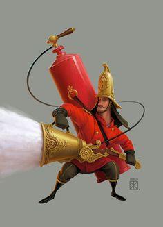 Сообщество иллюстраторов / Иллюстрации / Евгений Ткач / Пожарный (Амизон)