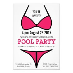 Hot Pink Bikini Ladies Bachelorette Party Personalized Announcement