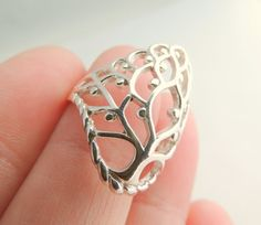 Sterling Silver Tree of Life Ring Jewelry Silver by KissingRavens, $24.00