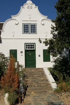 I love the gables inspired by the Baroque era because of the romance in the lovingly gentle curves and curls. Bauhaus Architecture, Architecture Design, Cape Town Holidays, Cape Dutch, Dutch House, The Gables, Types Of Houses, Adventure Is Out There, South Africa