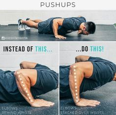 Quick pushups tip for you! AVOID THIS PUSHUP MISTAKE? At the bottom of the pushup, you want to have the elbows pretty much stacked directly over the wrists. Theres some wiggle room depending on how long your arms are, but the more you can stack your elbo Gym Workout Tips, Ab Workout At Home, Workout Videos, Fun Workouts, Gym Tips, Workout Routines, Workout Outfits, Body Fitness, Physical Fitness