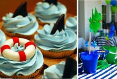 boy beach party. great cupcakes!