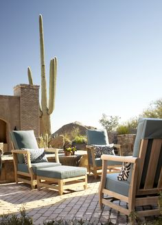 a desert oasis seating arrangement designed by Jana Parker Lee for Wiseman & Gale Interiors.  Sutherland outdoor furniture and perennials outdoor fabrics.