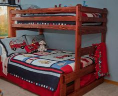 Bunk bed for boys' room--queen on bottom, twin on top. Get plans and make it ourselves. This particular guy is on Craigslist at 423-598-8330