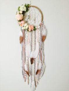 Dreamcatcher, Boho Dreamcatchers, Flower Dreamcatcher, Modern Wall Hanging, Boho chic Dream catcher, Dreamcatcher Wall Hanging, 3 Sizes by BlairBaileyDesign on Etsy https://www.etsy.com/listing/497463589/dreamcatcher-boho-dreamcatchers-flower