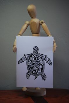 Greeting Card - Turtle Doodle Art