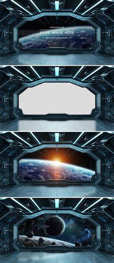 Spaceship Interior Mockup with Window View - Mockups