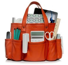 Orange bag for office supplies with style.