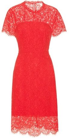 Alma Red Lace Dress By Diane Von Furstenberg $511 At MyTheresa Red lace dress short sleeves scalloped lace hem https://api.shopstyle.com/action/apiVisitRetailer?id=614782869&pid=uid841-37799971-81