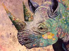 Elaborate Textile Collages of African Wildlife by Sophie Standing textiles embroidery animals Africa. I want cool animal art everywhere. African Animals, African Art, Rhino Art, Art Du Collage, African Quilts, Colossal Art, Animal Quilts, Textile Artists, Wildlife Art