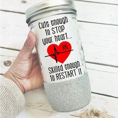 Nurse RN Glitter Glass Tumbler Glitter Sips  - Cute and Original Gifts for Nurses - Pin for Later!