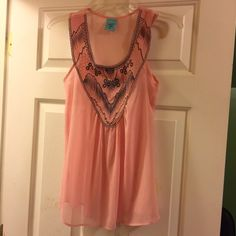 Sheer cute tank. Light and airy pink tank with grey embroidered detail. Very feminine. H.I.P Tops Tank Tops