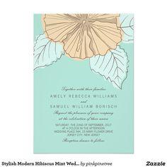 Stylish Modern Hibiscus Mint Wedding Invitation