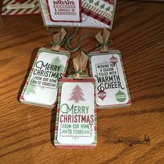 Good Morning,   I'm just popping in to post the cute little Christmas Gift Tags I made using the Wrapped in Warmth stamp set.   Tag - 2 ...