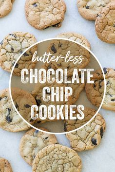 Butter-less Chocolate Chip Cookies - My list of the best food recipes Winter Desserts, Great Desserts, Party Desserts, Delicious Desserts, Yummy Treats, Hot Fudge Cake, Hot Chocolate Fudge, Chocolate Chip Cookies, Nutella Cookies