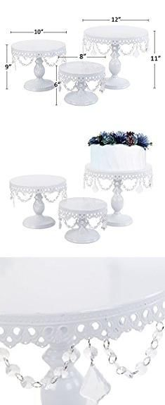 Cake Stand With Crystals Vilavita 3 Set Antique Cake Stand Round Cupcake Stands Metal Dessert Display With Crystal Beads White Antique Cake Stands Cake Stand Display Metal Cupcake Stand