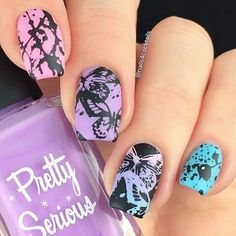 So cool!!!!  . Regrann from @nails4cocktails - Pastel butterflies for the #clairestelle8feb challenge  I wanted to make a simple mani with stamping to let all the beautiful pastel colours speak for themselves. For this mani I used:  @pscosmetics: Fluffykins, Cutie Patootie, Doodle Bug.  @hm: Neo Noir.  @esmaltesdakelly: Pinguino, Flufi, Dixie, Ringo.  @linanailartsupplies: Make your mark 01.  @clearjellystamper: The Big Bling.  @myblisskiss: Simply Neat Miracle Mat...