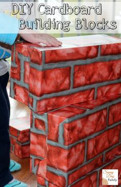 Make your own big cardboard building blocks for kids by recycling empty shoe boxes!