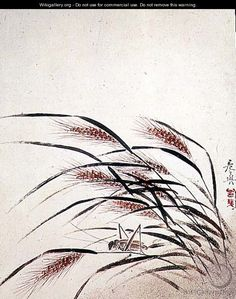 Grasshopper and wheat - Shibata Zeshin