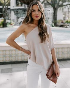 Shower With Love One Shoulder Blouse - Ecru Chic Outfits, Fashion Outfits, One Shoulder Tops, White Cold Shoulder Top, Cold Shoulder Blouse, Alternative Girls, Fashion 2020, Dress To Impress, My Style