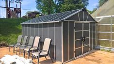 Provide an ultimate performance with endless usability by selecting this Palram Yukon Dark Gray Storage Shed with WPC Floor Kit. Outdoor Life, Outdoor Living, Utility Sheds, Shed Organization, Wooden Sheds, Roof Panels, Storage Sheds, Organizing Your Home