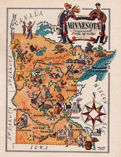 old map of Minnesota, a pictorial map by Jacques Liozu, this is a good source for high quality printable vintage maps and illustrations Vintage Maps, Vintage Travel, Vintage Posters, Antique Maps, Vintage Signs, Vintage Prints, Minnesota Home, Minnesota Vikings, Minnesota Funny