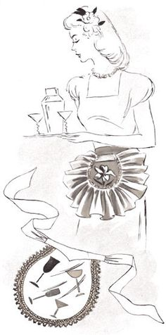 Ruffled Cocktail Apron
