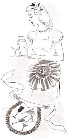 Vintage Cocktail Apron Patterns via TipNut