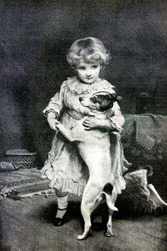 C. Burton Barber Girl Child Dancing w Dog SILENT PARTNERSHIP 1890 Print Matted #Realism